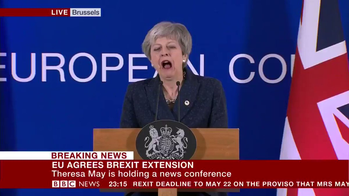 """""""I do not believe that we should be revoking Article 50""""  UK PM Theresa May speaking after the EU agrees a plan to delay #Brexit beyond 29 March   http://bbc.in/2HyuuaE"""
