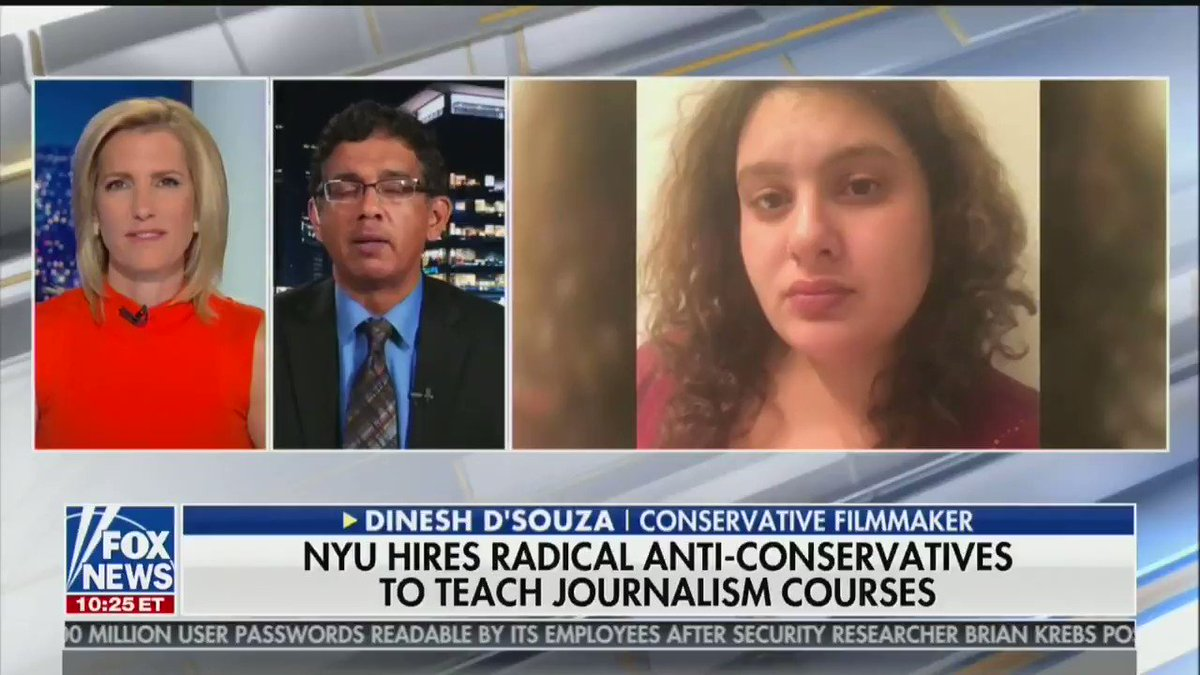 "Here's Laura Ingraham displaying my face to 2.5 million viewers and calling me a ""little journo-terrorist.""   I am 29. I have no full-time job. I am teaching a single course, for $7k, as an adjunct.  This is insane. And irresponsible. It is incitement. It is not okay."