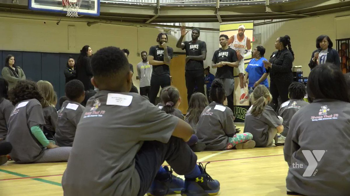 Huge thank you to @d_dedmon3, @fearthefro95, @10jadams and the @ATLHawks for their generosity! This week, in partnership with @shoesthatfit, they distributed new shoes to kids at our @DecaturFamilyY, taught them basketball drills and shared nutrition tips as part of #NBAFitWeek.