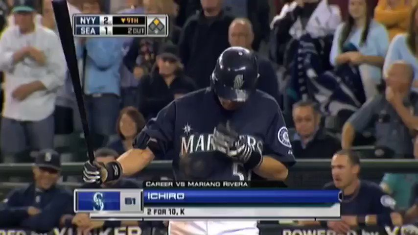 One of my very favorite moments in baseball history. Bottom of the 9th, Yankees lead 2-1. Runner on, two outs. And up steps Ichiro to face Mariano Rivera ...