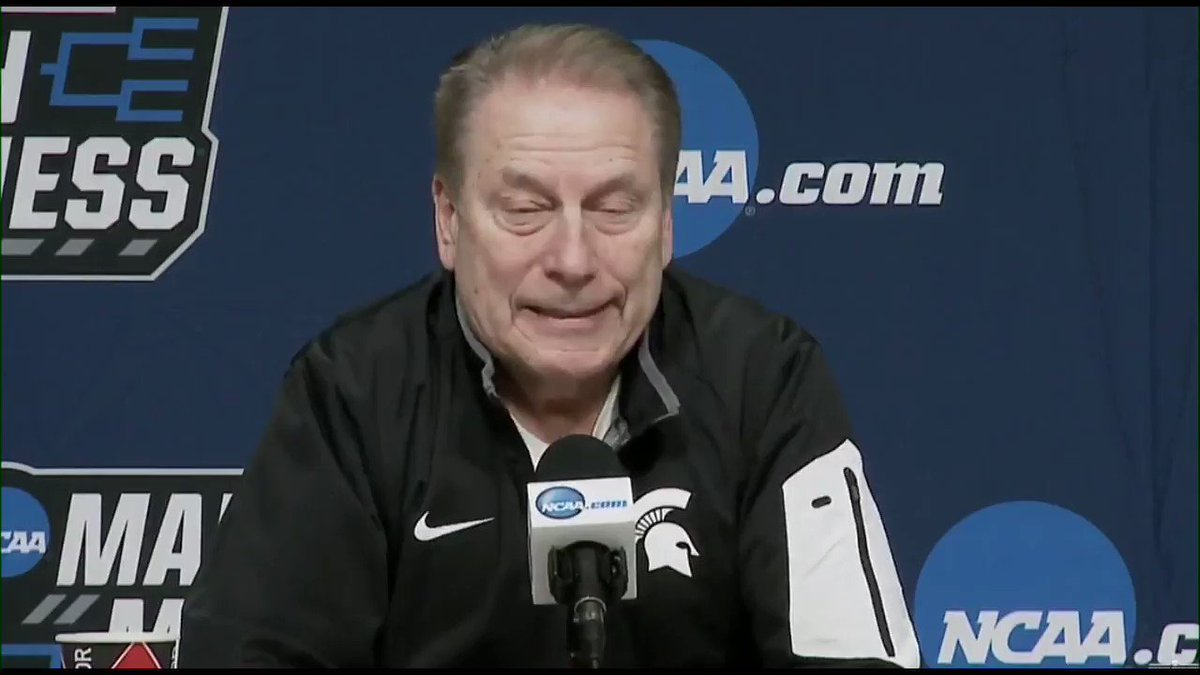 """Tom Izzo spoke for over two minutes at the podium, regarding the reactions to his exchange with Aaron Henry:   """"To me, it was ridiculous the way it blew up."""""""