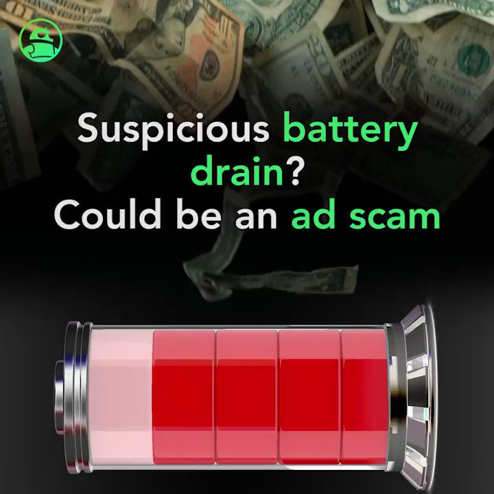 Image for the Tweet beginning: Scammers drained Android phone batteries