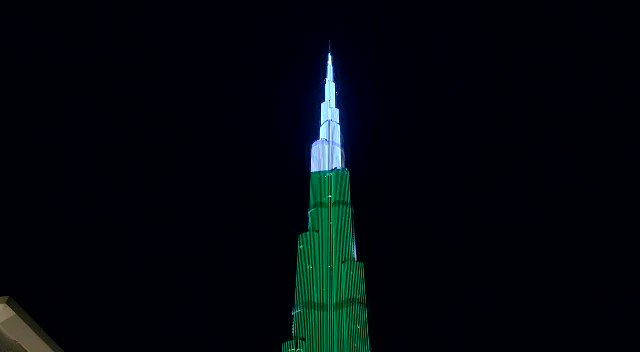 Dubai's @BurjKhalifa lights up to the colours of the Pakistan flag to mark the country's 79th Resolution Day. (KT Video: Neeraj Murali) https://bit.ly/2Olen0J