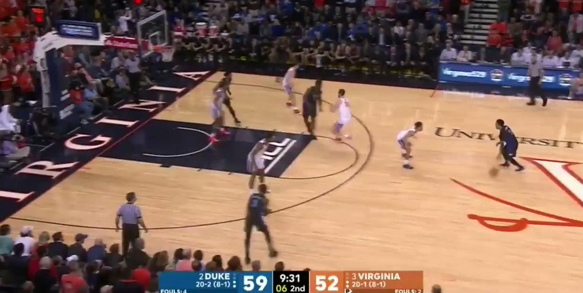Last month, up at UVA. Splits the ball screen from Zion, finishes over the top from a step inside the free throw line.