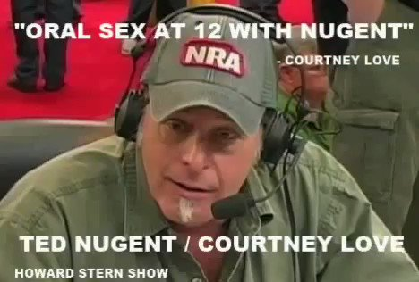 I'm just getting started. Courtney Love on Howard Stern talking about being 12 years old and messing with Ted Nugent. You can't make this shit up. This is why they use MJ as a cover for these deviant beasts.   Nugent isn't the only one either.  #MJInnocent  #FactsDontLiePeopleDo