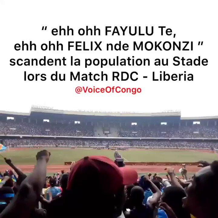 """La Population au Stade 🏟 lors de la victoire des Leopards 🇨🇩 🐆 contre Liberia 🇱🇷 a aussi scandé :   """"Eehh Ohh FAYULU Te, Ehhh Ohh FÉLIX nde MOKONZI""""  #RDC"""