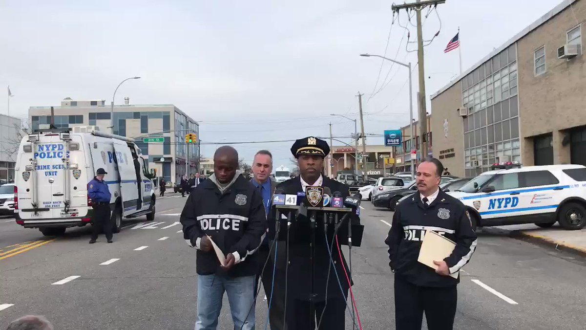 UPDATE: @NYPDChiefPatrol provides an update on today's firearms discharge in front of the @NYPD111Pct in Queens. All information is preliminary.