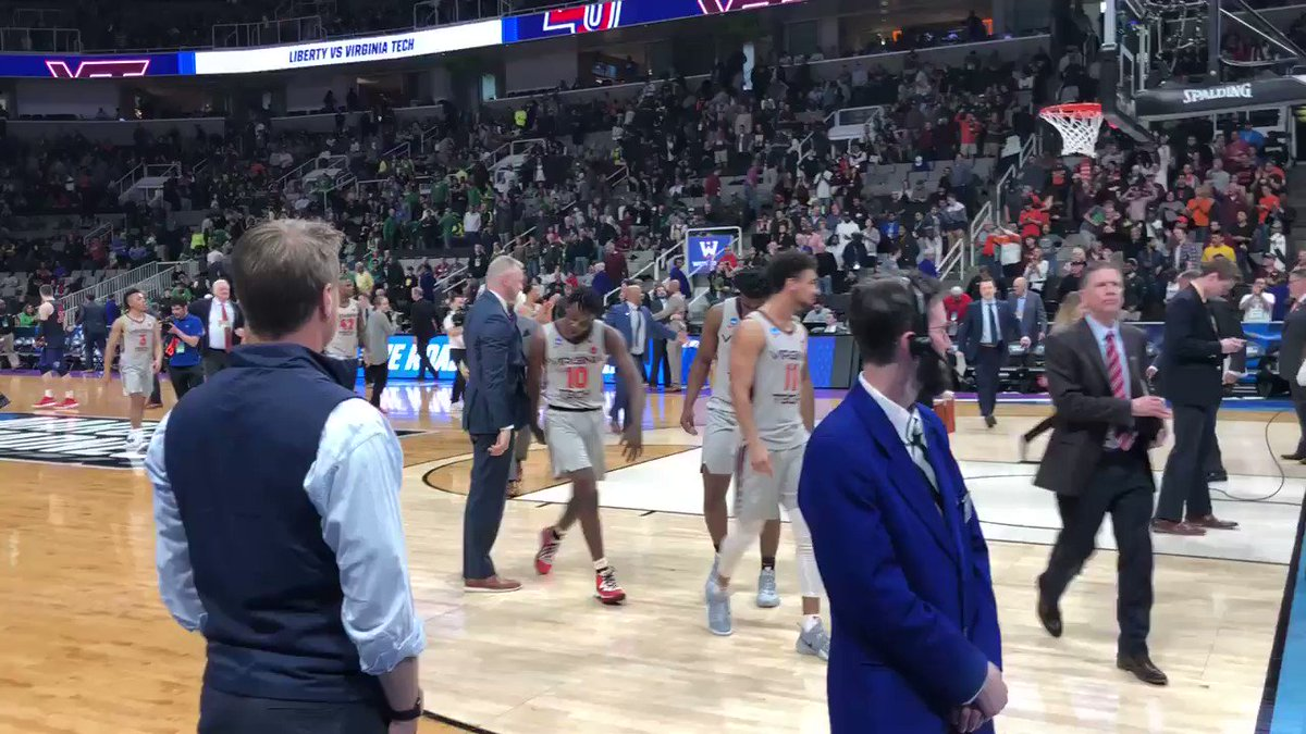 Virginia Tech exits the floor after punching its first Sweet 16 ticket in 52 years.