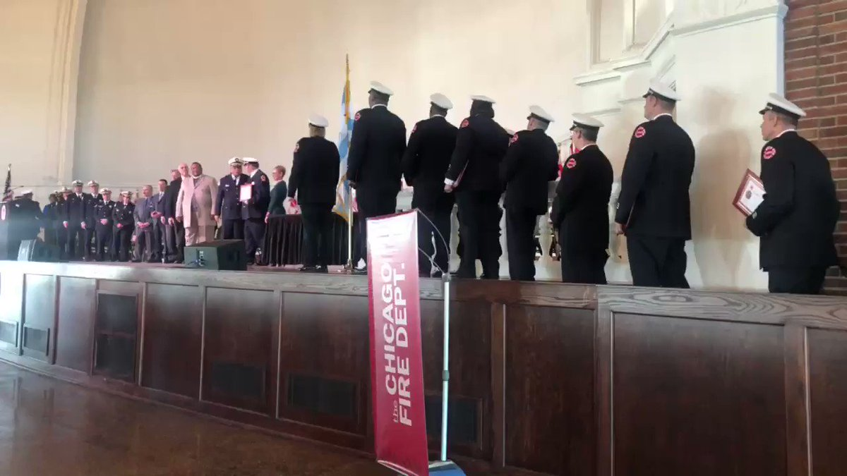 Happening Now: we're congratulating and thanking 530 promoted @CFDMedia firefighters and paramedics this #Mondaymorning at the Chicago Fire Department promotional ceremony. Join us LIVE: http://www.bit.ly/MRELive – at Navy Pier