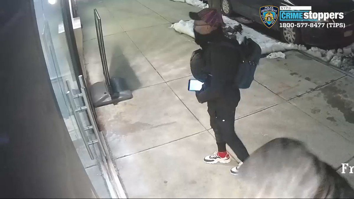 """🚨WANTED for BURGLARY: on 3/4/19 at approx 11:41 PM, a black male, approx 5'9"""" to 5'10"""" in his mid 30s w/ glasses & red bike forced open a door in a residential building in the vicinity of Franklin Ave & Willoughby Ave in Brooklyn and stole property. Call @NYPDTips with any info."""