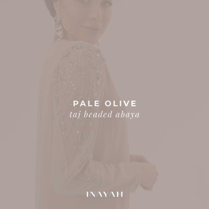 ee2e18270b574 Beaded occasionwear | | Pale Olive Taj Beaded Abaya | Khaki Luxe Jersey  Hijab