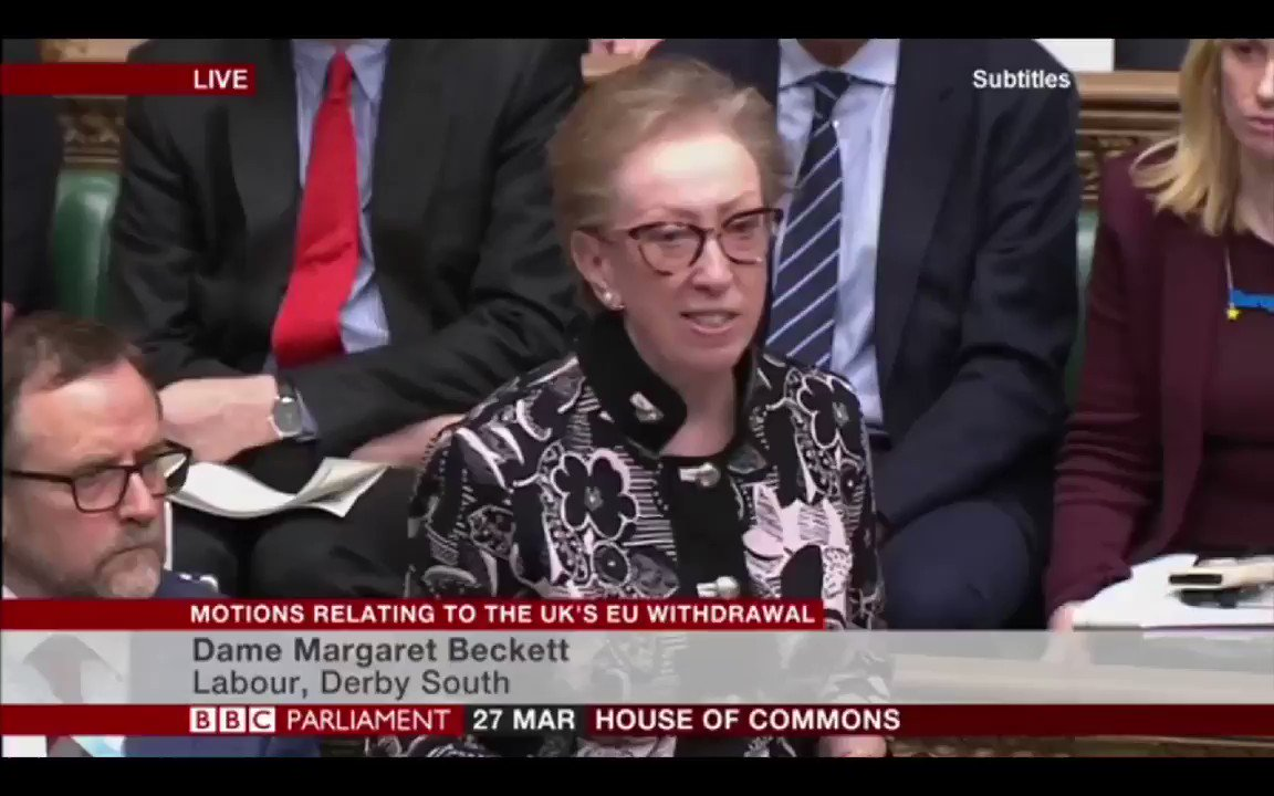 Margaret Beckett - Think of the consequences if this house forces an outcome on the people of this country that they no longer desire... it's the British people who should now decide what comes next.   #StopBrexit #RevokeArticle50 #PMQs