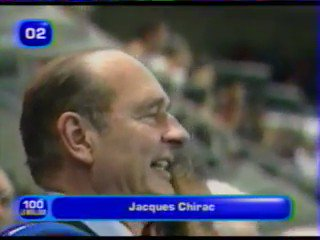 Jacques Chirac pretending to know the name of the players at the 1998 World Cup final.