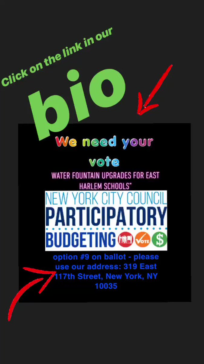 "WE NEED YOUR VOTE!!!  RSA is on Council Member Ayala's Participatory Budgeting Ballot this year for project ""Water Fountain Upgrades for East Harlem Schools"" Voting dates are March 30 to April 7 at 12pm  Here is the link to vote online: https://pbnyc2019.d21.me/   OPTION 9 ON BALLOT"
