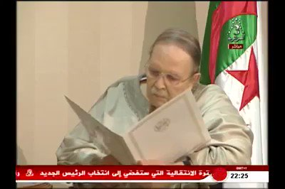 Footage of Bouteflika, frail and skeletal, delivering his letter of resignation to the president of the Constitutional Council. It really is a woeful sight. #Algeria