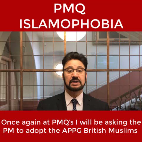 The PM had no good answer to my #PMQs question on #Islamophobia. I have now asked 3 times if the Tory party will accept the @APPGBritMuslims definition. 3 times she has refused.   How can the Tories deal with a problem they can't even name?