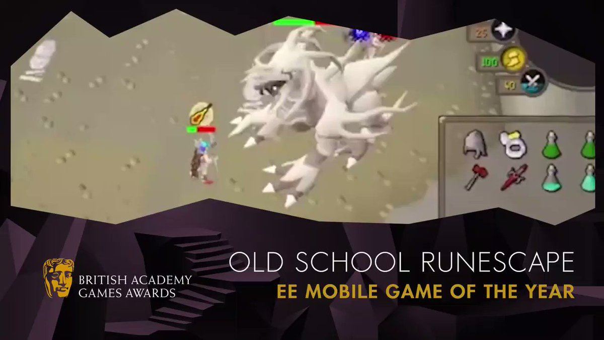 The #BAFTAGames award that YOU voted for - @EE Mobile Game of the Year! And the winner is: Old School Runescape 📱👏