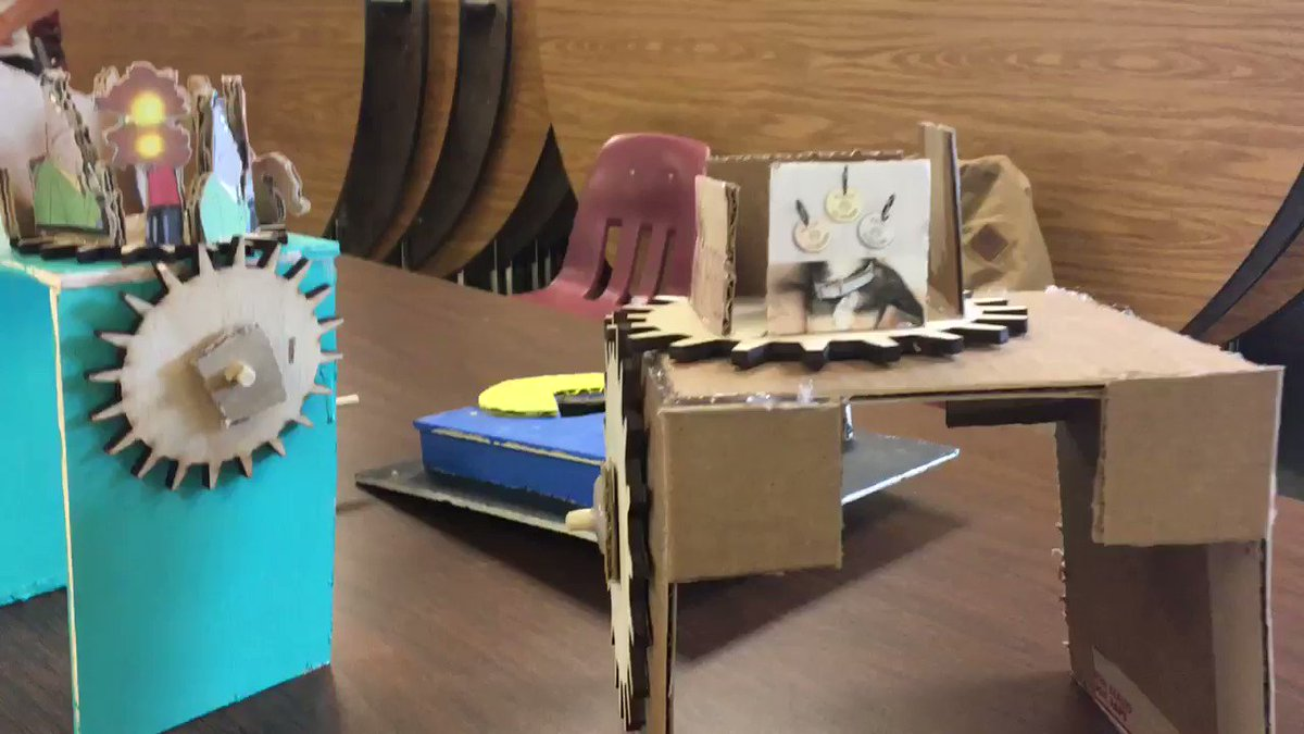 7th grade LASER cut Gear Train Story Machines. Adobe Illustrator, planning, and storytelling through design. Proud of these kids! <a target='_blank' href='https://t.co/GstEKa2YS4'>https://t.co/GstEKa2YS4</a>