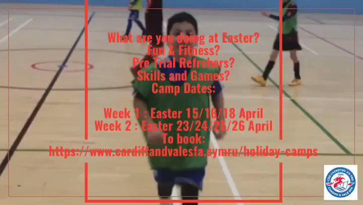 PRE TRIAL PREP at our Easter Camp.  Dates: Week 1 : Easter 15/16/18 April Week 2 : Easter 23/24/25/26 April To book:    https://www.cardiffandvalesfa.cymru/holiday-camps  @CardiffUniSport @CardiffCityLive @cardiffcouncil @FOR_Cardiff @VisitCardiff @WeAreCardiff   #wales #holiday #footballcampscardiff