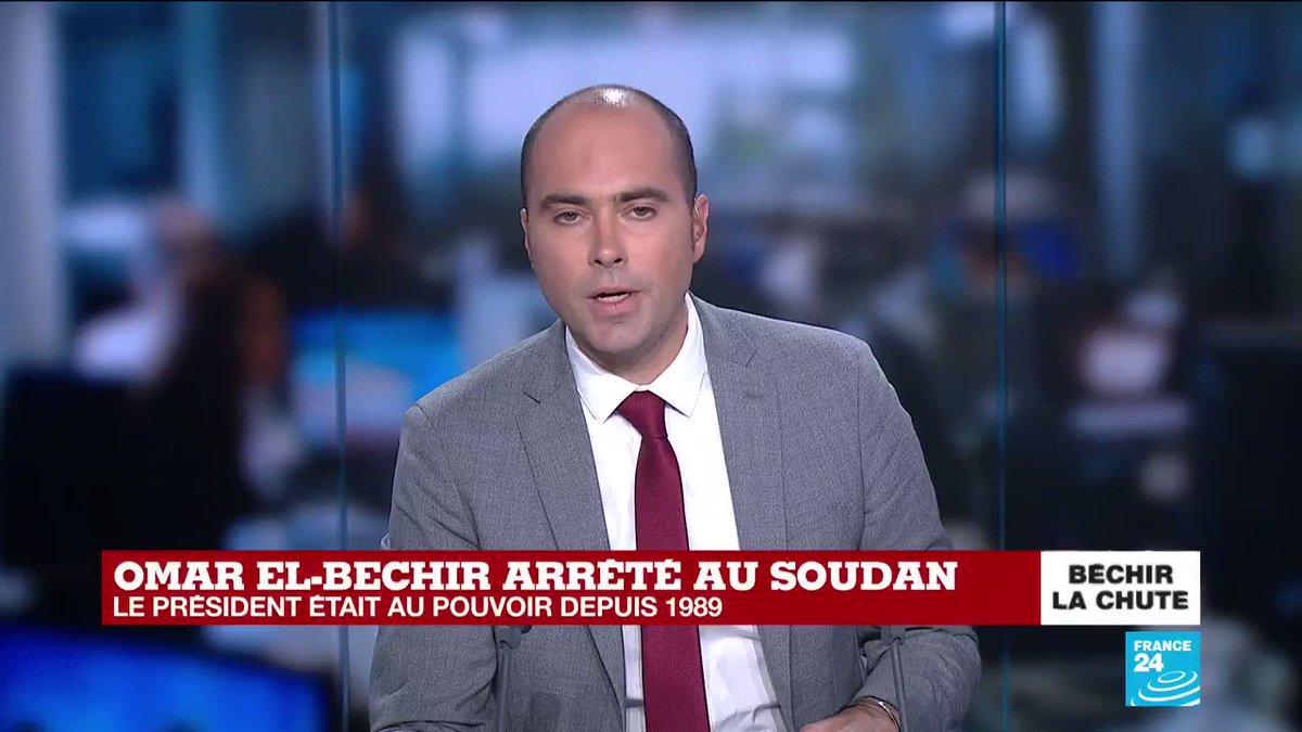 """Où se trouve Omar #ElBechir ? """"On ne sait pas. Ce qu'on sait, c'est que d'anciens responsables du régime ont été arrêtés. (...) Il semblerait que tous les proches d'#OmarElBechir aient été placés en détention,"""" @bastien_rnl nous en dit plus sur la situation au #Soudan #Sudan"""