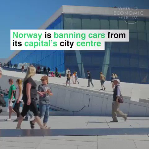 Norway is banning cars from the centre of Oslo.  Parking spaces are to be replaced with flower beds. 🌸  60km of cycle lanes are being built. 🚲   We have solutions to the #climate crisis. Let's implement them.   #energy #sustainability #innovation #greencities #climatechange