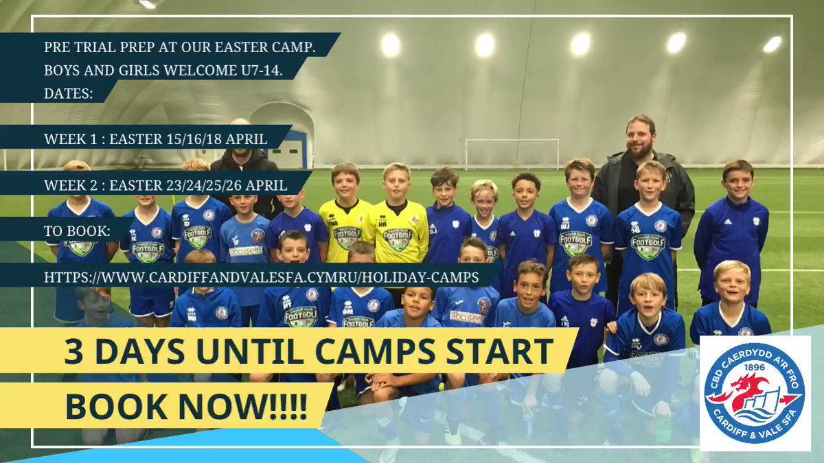 PRE TRIAL PREP at our Easter Camp.  Boys and girls welcome U7-14. Dates:  Week 1 : Easter 15/16/18 April  Week 2 : Easter 23/24/25/26 April  To book:    https://s.ripl.com/wcnsys   #wales #holiday #footballcampscardiff