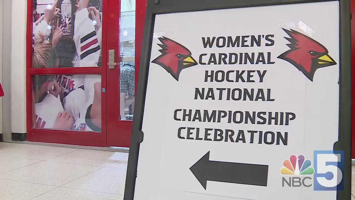 "The celebration was on at @PlattsAthletics today as the @CardinalsWHKY team commemorated last month's national championship with the fans.  ""It's just our way of thanking them — to bring the trophy back home to them.""  Full story: http://bit.ly/2UBwEwU  #d3hky"
