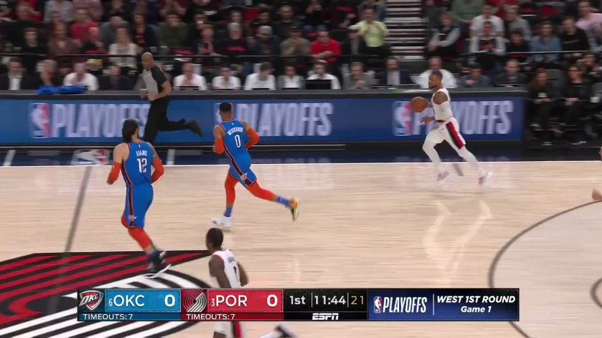 DAME RANGE TO OPEN PLAY! ��  #RipCity 13 #ThunderUp 11  #NBAPlayoffs #NBAonABC https://t.co/ZHWC8NoCKe