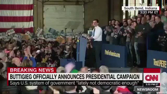 """Pete Buttigieg: """"We can't say it's much of a democracy when twice in my lifetime, the Electoral College has overruled the American people ... Let's pick our President by counting up all the ballots and giving it to the woman or man who got the most votes."""" Via CNB"""