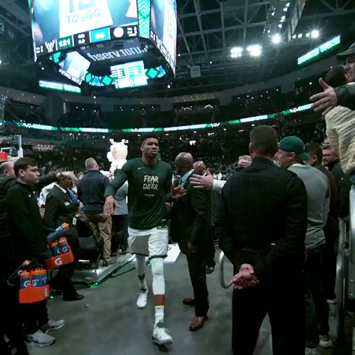 Giannis walks off after the @Bucks take a 1-0 series lead! #PhantomCam #FearTheDeer #NBAPlayoffs https://t.co/IFq0AAGHdb