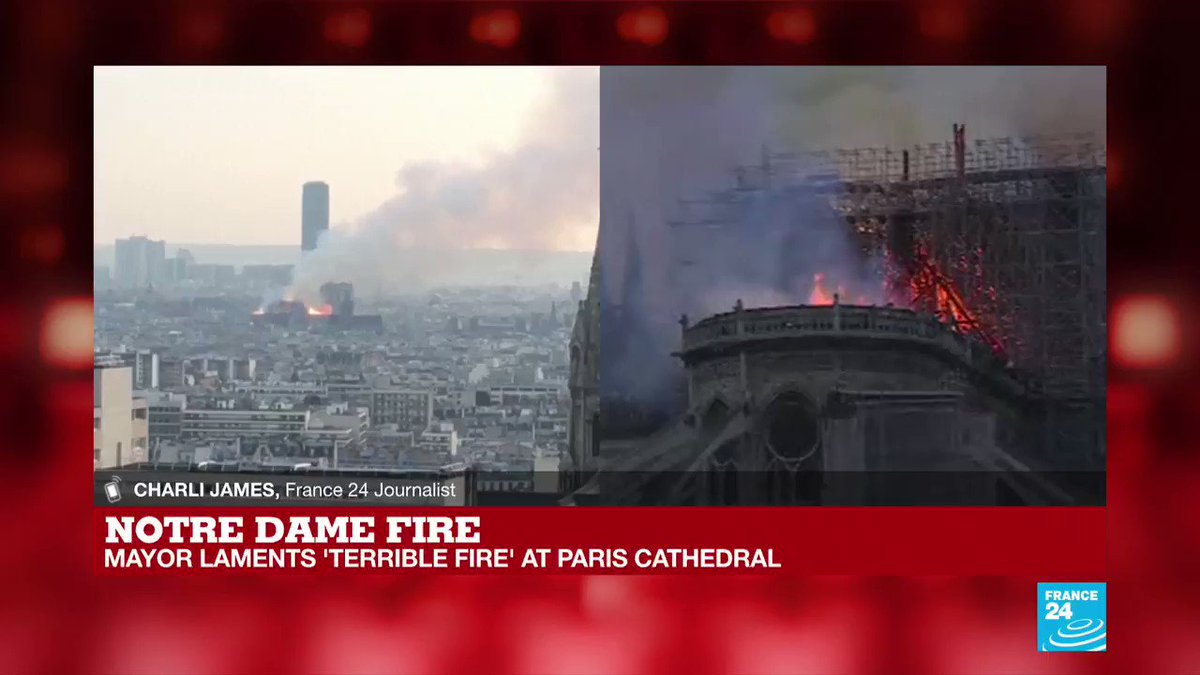 #NotreDame fire: 'The entire roof has collapsed and there is still intense amounts of smoke, from across the river it's choking'  @charli, journalist for France 24 at the scene