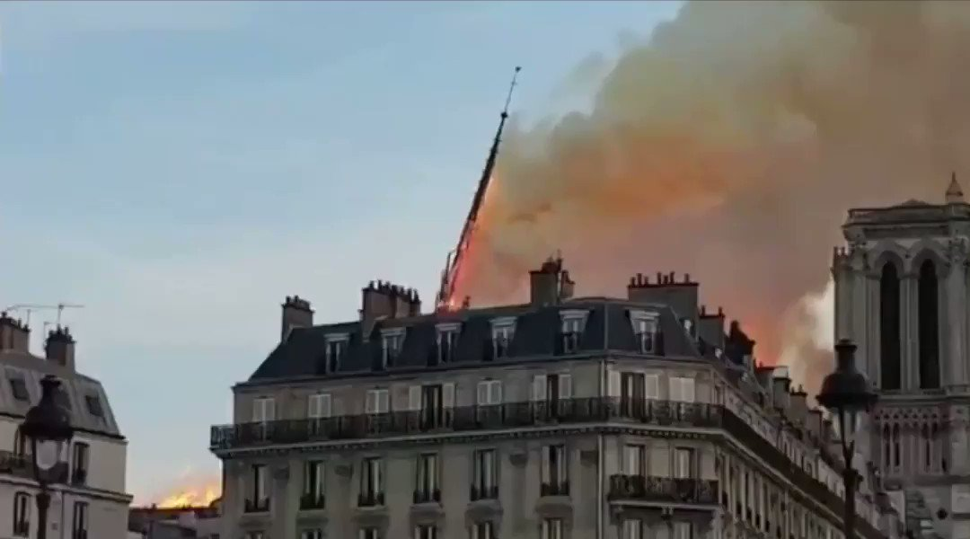 Absolutely heartbreaking. That's almost 1000 years worth of history going up in flames. One of the most iconic architectures in the world. Moment of loss not only for France, but the entire world. Hope everyone is safe! #NotreDame