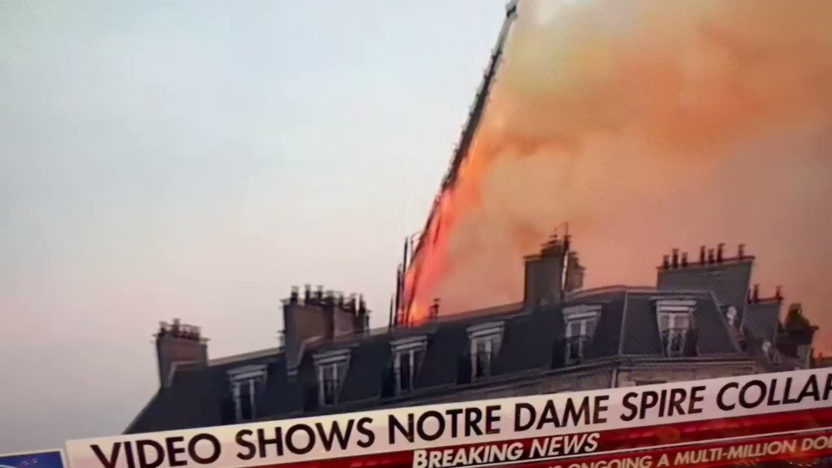 Iconic Notre Dame cathedral spire collapses.   Prayers for the French Firefighters.