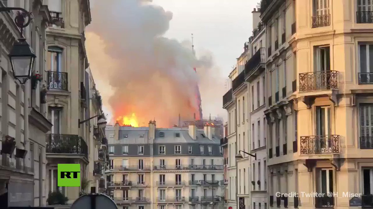 'It's falling!'  Spire collapses as fire ravages #NotreDame cathedral  https://t.co/UQo9jOPw5P https://t.co/9ZJ3Q7VnY8