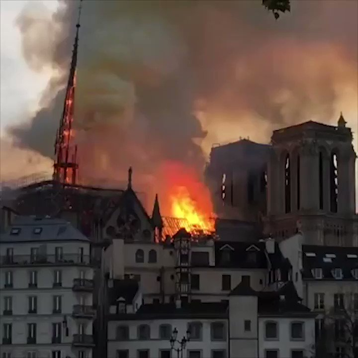 Dramatic video captures the moment the spire of Paris' Notre Dame collapsed.   Read more: https://t.co/2ChhL2mcnv https://t.co/p7rk8sp8u4