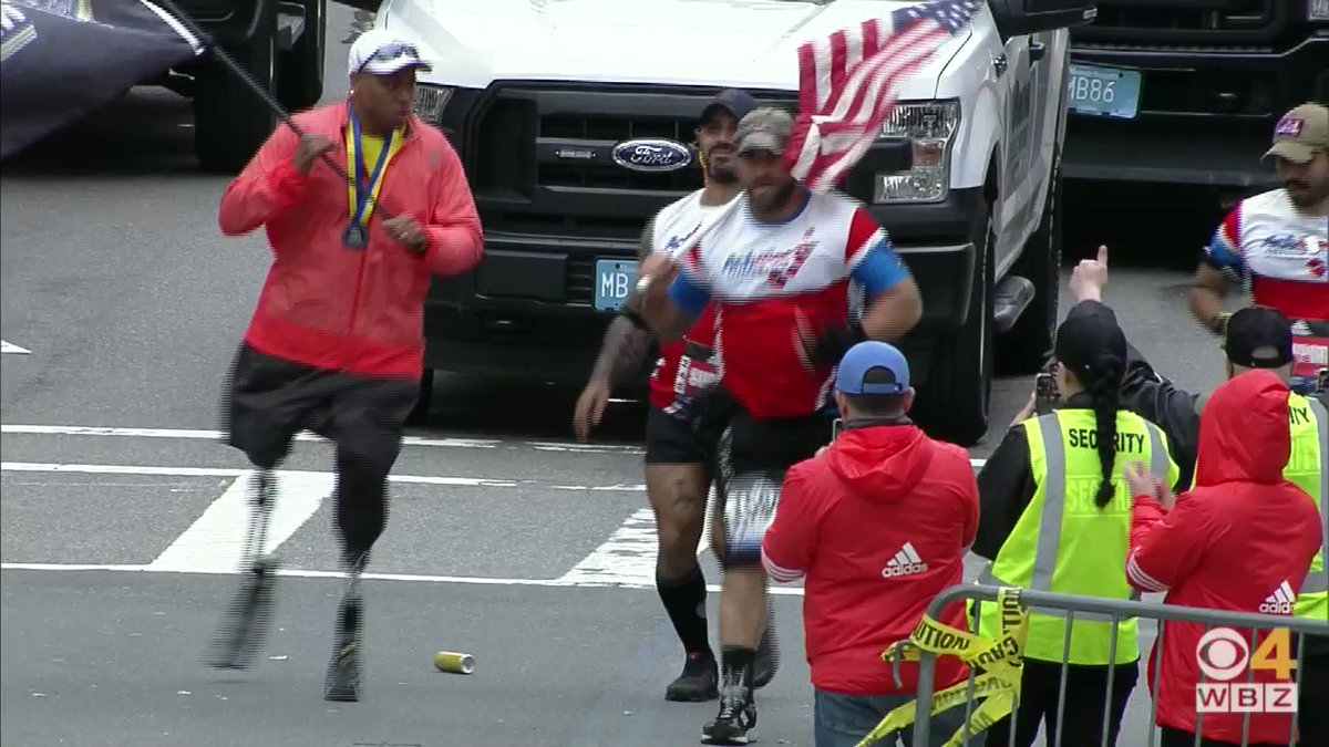 These four wounded combat veterans just crossed the #BostonMarathon finish line together.   Goosebumps.