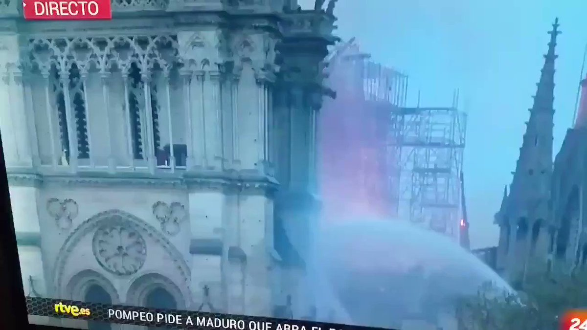ALERT!  French Media reported there were no construction workers at the time of the fire at cathédrale Notre Dame & the Church was closed  So WHY is there a video of person at one of the the 2 towers half an hour after the start of the fire?  Anyone have more info?  h/t @sotiridi