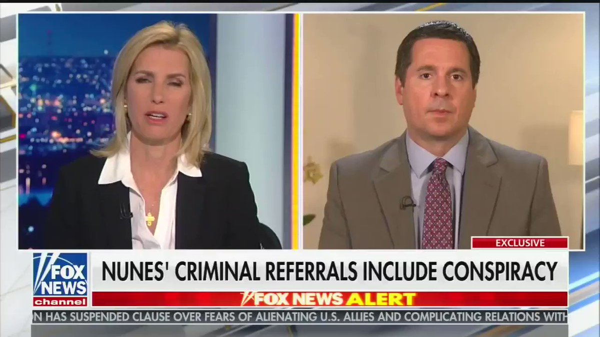 """.@DevinNunes tells @IngrahamAngle he's interested in the origins of three specific areas of the Mueller Investigation.   """"If Mueller can't get to the bottom of this and answers this for the American people, I don't know what the report was really worth."""""""