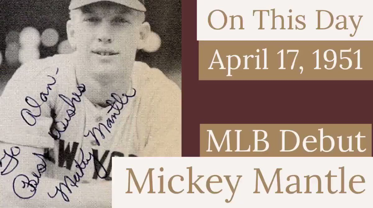 On this day in 1951, 19 year old Mickey Mantle begins his professional journey to becoming one of sports' beloved #legends .  .  . #signaturedebut #thecommercecomet #themick #rookieseason