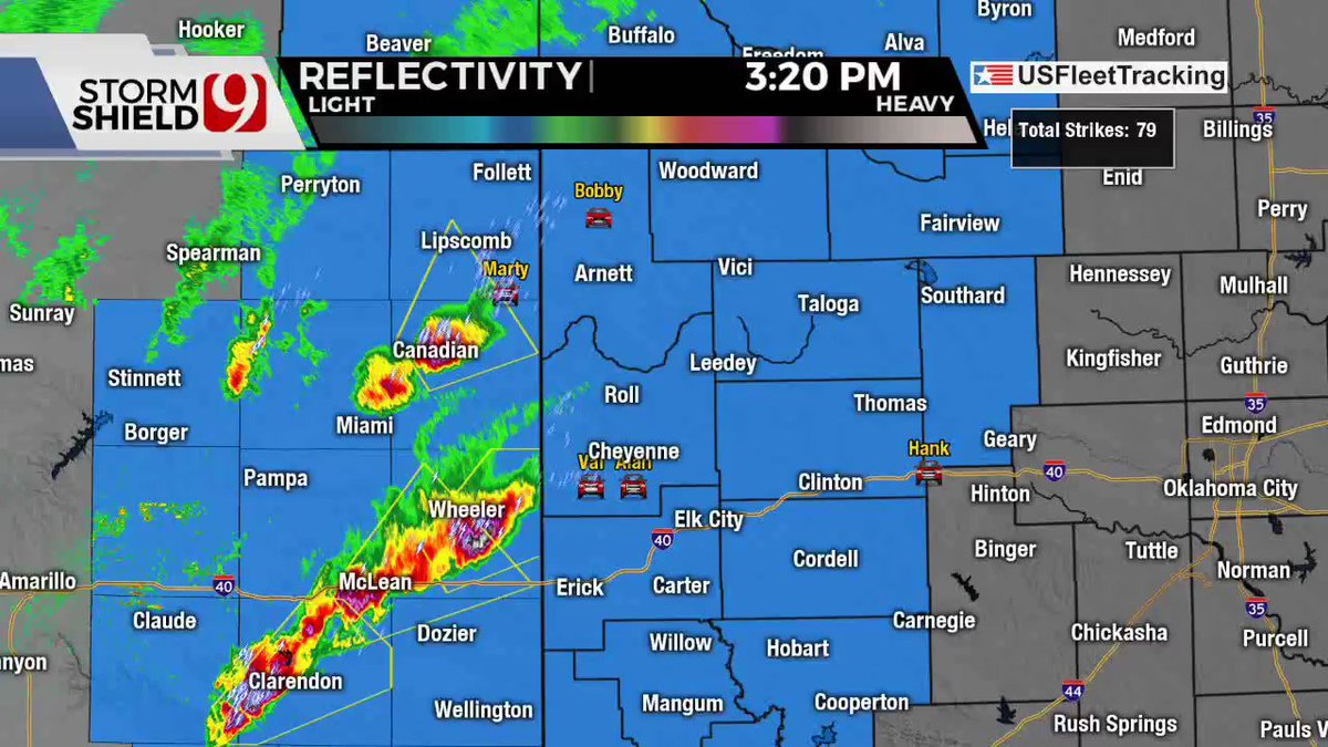 4:19 PM - Severe storms have crossed into western Oklahoma in Roger Mills county near Cheyenne. This storm could produce hail to the size of tennis balls. The north tornado-warned storm hasn't crossed into OK yet, but we're watching! #okwx @NEWS9