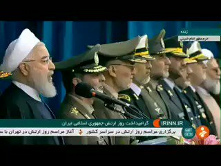 """President Rouhani at Army Day; """"Our goal is the stability, security and independence of the countries of the region, and one of the honors of the armed forces is the fight against terrorism."""" #Iran"""