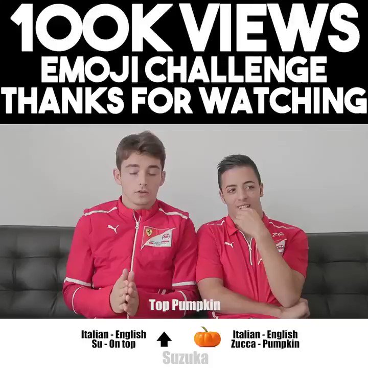 Our @FIA_F2 #emojichallenge with @Charles_Leclerc & @Anto_Fuoco has reached more than 100K views on YouTube! Thank you guys for watching and we hope you keep enjoying our videos #thanksforwatching