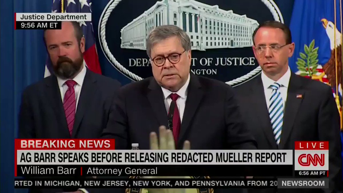 REPORTER: Is it an impropriety for you to come out and sort of spin the report before people are able to read it?   BARR: No.   *walks away*