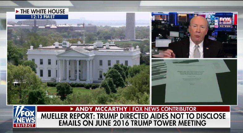 LISTEN: @BillHemmer and @SandraSmithFox spoke with @AndrewCMcCarthy after the redacted Mueller report release #nine2noon