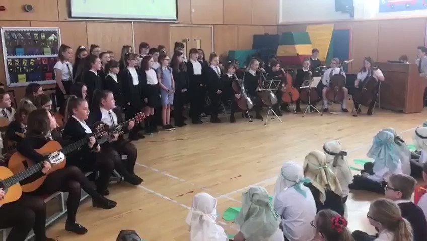 Around 70 children all performing as part of our Music Making Group: 🎤 Singers (2 parts) 🎸 Guitars 🎵 Ukulele 🎻 Violins 🎻 Violas 🎶 Cellos 🎹 Piano 🥁 Drums  'What About Us?' By @Pink   I'm so fortunate to work with such hardworking and willing pupils👏 @ForehillPrimary