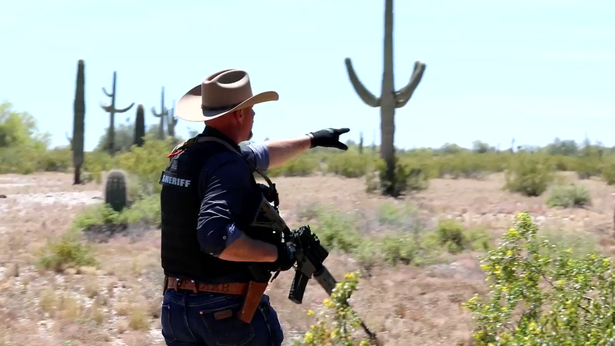 """""""You have guys that come through here that do this for a living…they bring groups across, they bring drugs across.""""  Sheriff Mark Lamb from @PinalCSO showed us today how illegal immigrants and smugglers travel through the Arizona desert. @RepAndyBiggsAZ @sherifflamb1"""