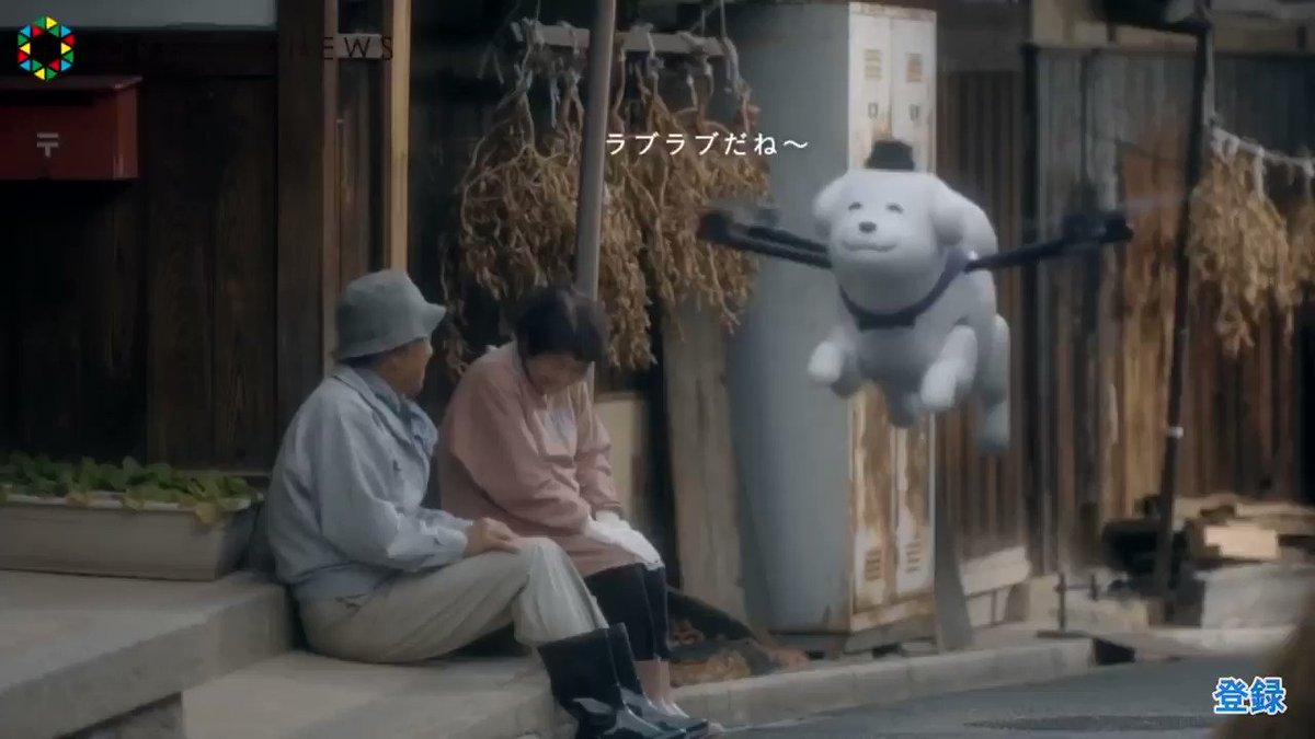Yukimaru the drone dog flies over Oji town in Nara, Japan, where he's the mascot.