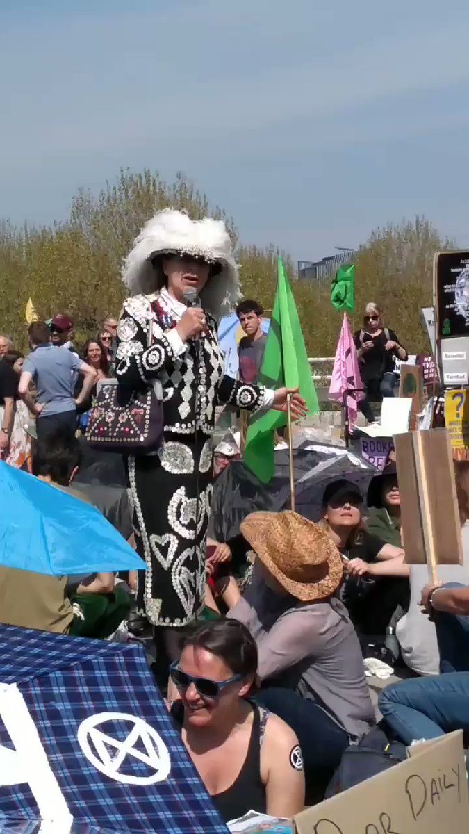 #WaterlooBridge #InternationalRebellion #ExtinctionRebellion Our Pearly Queen of Rebellion! #PearlyQueen