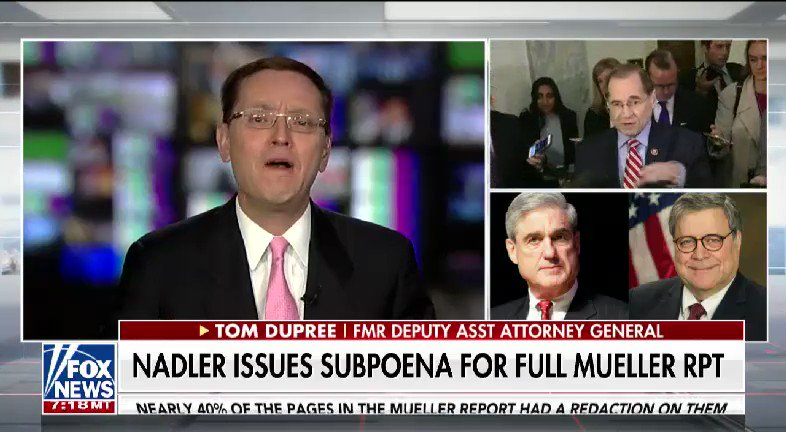 LISTEN: @BillHemmer got reaction from former Deputy Assistant Attorney General Tom Dupree after @RepJerryNadler issues a subpoena for the full Mueller report #nine2noon