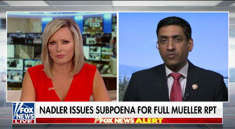 LISTEN: @SandraSmithFox spoke with @RoKhanna after @RepJerryNadler issues a subpoena for the full Mueller report #nine2noon